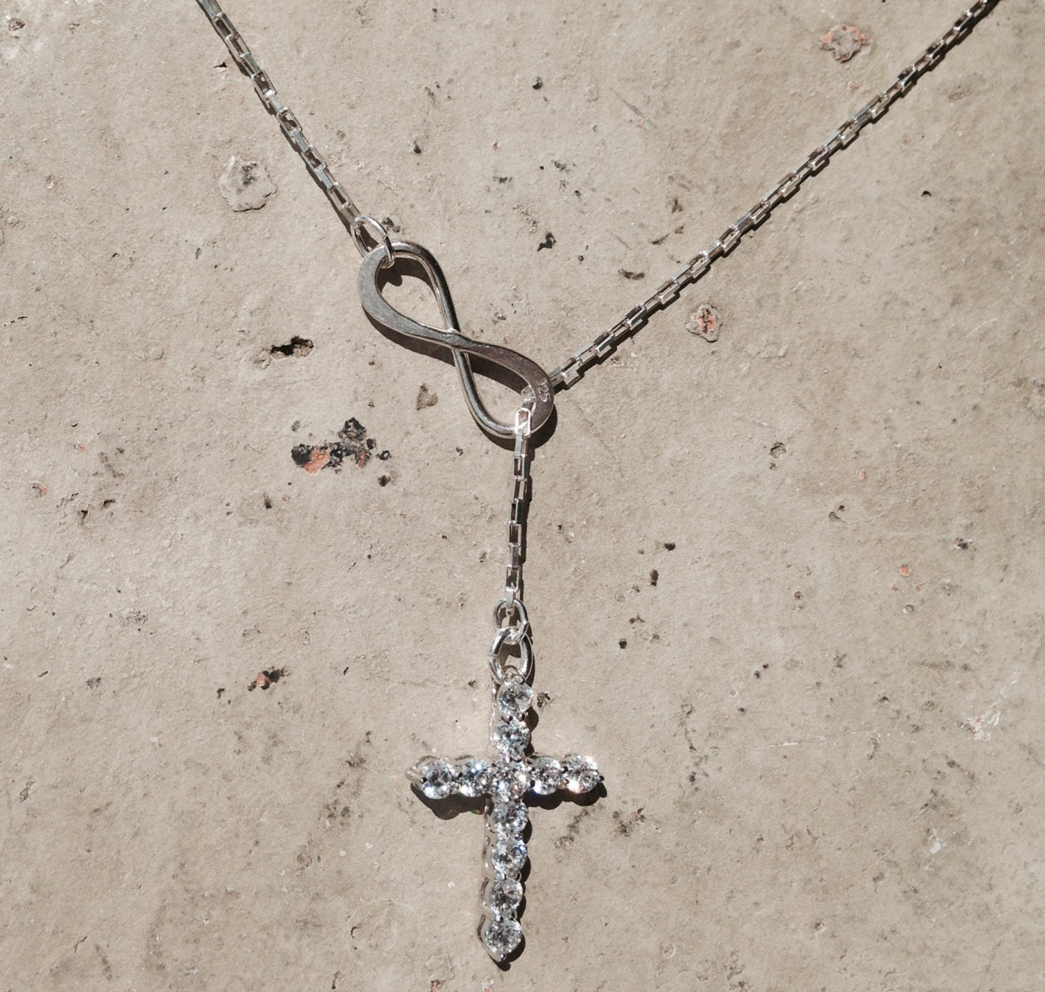 Silver Infinity Cross Pendant Dangle By Handmadebylilianaa