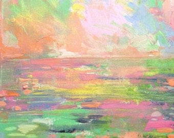 Take me to the Keys-- Post- Impressionist Painting of landscape-- Art in frame