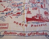 Vintage Alaska Tablecloth, Souvenir Tablecloth, Souvenir, Alaska, Mid Century, Mid Century, Vintage Tablecloth, United States
