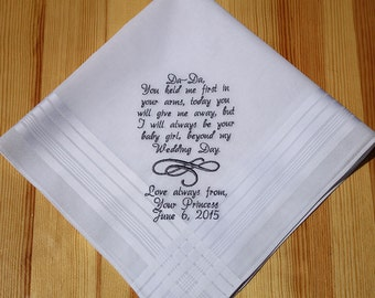 Father of Bride Personalized Embroidery Wedding Handkerchief Custom Monogram
