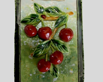 Beautiful ceramic cherries, hand made ceramic, ceramic and pottery, wall decor, ceramic tile,