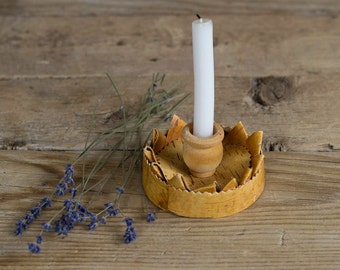 Vintage Swedish Handmade Birch Bark Candle Holder, Rustic Kitchen, Home Decor