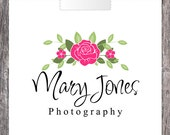 Pink Flowers Premade Business Logo - Photography Logo - Watermark - Signature Logo - Graphic Design