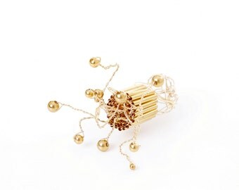 aspiRING - ring made by hand.Wirework ring.OOAK ring.Wirework  with gold plated wire.Gold plated metal beads.