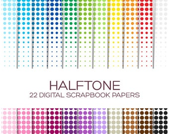 Halftone Digital Paper Pack Superhero Birthday Disney Rainbow Printable Ombre Digital Paper Instant Download - P00088