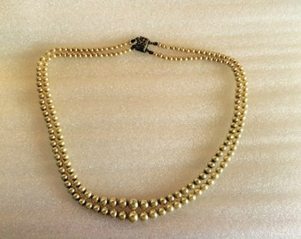 1910s Double-strand Edwardian Faux Glass Pearl Necklace with Sterling Silver Clasp