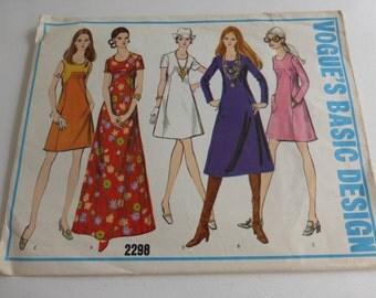 Vintage Vogues Basic Design Pattern 2298 Misses One Piece Dress Size 12