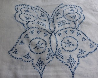 Vintage Embroidered Blue Butterfly Quilt Strips Unfinished