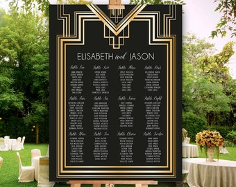 Great Gatsby Inspired Seating Chart for wedding and parties - PRINTABLE File - customised - ready to print