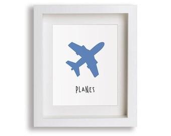 Planes Nursery Art Print - Baby Boy's Bedroom, Airplane Art, Children's Decor, Baby Nursery, Kids Wall Art, Playroom, Toddler Room