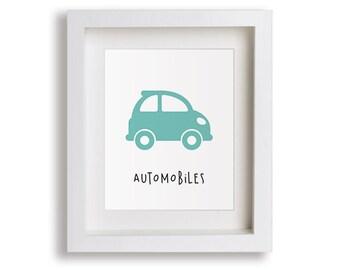 Automobiles Nursery Art Print - Baby Boy's Bedroom, Planes Trains, Children's Decor, Baby Nursery, Kids Wall Art, Playroom, Toddler Room