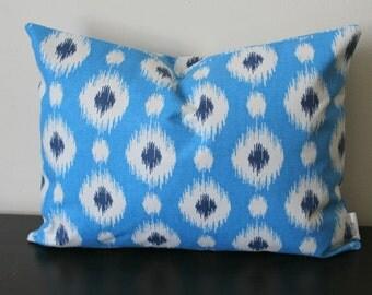 Decorative Throw Pillow,Blue Lumbar Pillow, Ikat Pillow Cover, Bedroom Pillow,Toss Pillow, Accent Pillow, Sofa Pillow, 12x16, 12x18