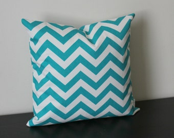 Decorative Throw Pillow Cover -16x16, 18x18 - One Turquoise Chevron Print - Toss Pillow - Accent Pillow