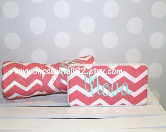 Chevron Quilted Changing Pad and Diaper Wipes Case Set (You Design It)