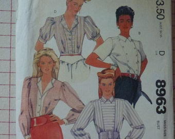 Vintage McCall's Pattern 8963 Misses' Blouses Size 16  Bust 38