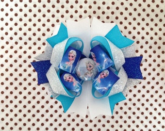 Ready To Ship Hairbow! Frozen Hairbow, Elsa Hairbow, Princess Hairbow, Glitter Boutique Hairbow, Girls Hairbow