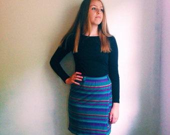 Vintage Southwestern Print Knit Skirt // Made in the USA // Purple Teal Green Jewel Tones Ethnic Print Skirt // Tribal Mini Pull On Skirt