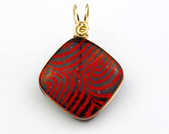 Gold Filled Wire Wrapped Fused Dichroic Pendant, Red with Swirls