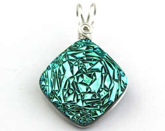 Teal Turquoise Green Wire Wrapped Druzy Dichroic Glass Pendant