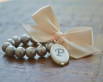 Ella - with Mother of Pearl Initial charm - Gray Pearls with Blush Pink Ribbon Bow