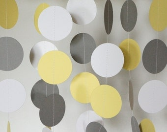 Yellow, Gray & White Garland, Yellow, Gray Wedding Decoration, Birthday Party, Bridal Shower, Baby Shower Decor, Nursery, 10 feet long