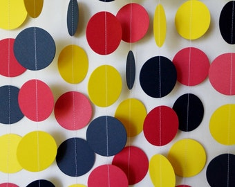 Boys Birthday Party Decoration, Red, Yellow & Navy Blue Circle Garland, Paper Dots, Baby Shower Decor, 10 ft. long