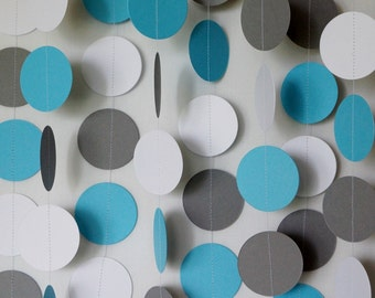 Blue, Gray and White Paper Garland, Blue Baby Shower Decor, Wedding Decor, Birthday Party Decorations, 10 feet long