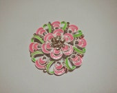 Pink and Green Enamel Magnetic Brooch with Acrylic Rhinestones Pageant Sash Pin on White