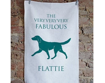 Flat Coated Retriever Tea Towel - FlatCoated Retriever - Retriever Present - flatcoatedretriever - flat coated present - flattie - birthday