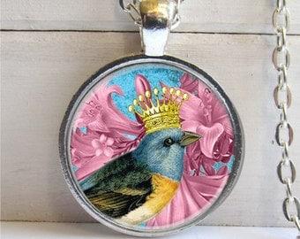 Bird Pendant, Whimsical Bird Necklace, Bird Crown, Silver Charm Necklace