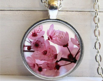 Art Pendant, Cherry Blossom Pendant,  Pink Flowers Necklace, Photo Pendant