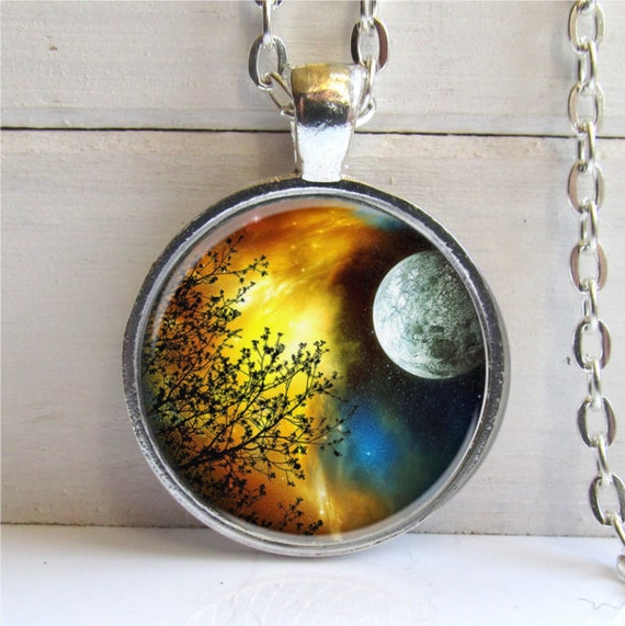 Tree Pendant, Art Pendant, Tree Necklace, Full Moon Tree Charm