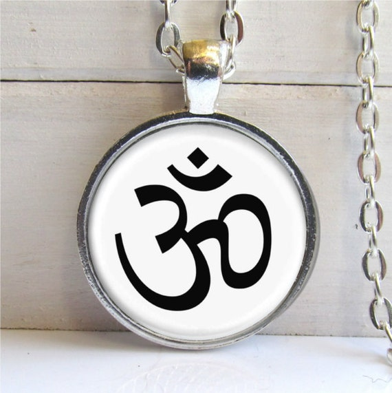 Ohm Pendant, Black And White Ohm Charm, Yoga Jewelry, Ohm Necklace