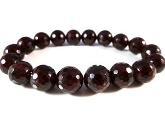 Red Garnet Stretch Bracelet 10mm Micro Faceted Round Gemstone Beads