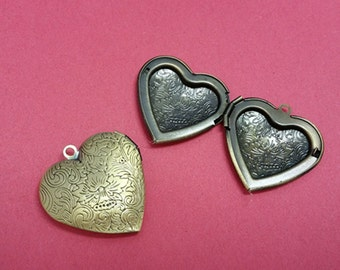 2pc Bronze Tone Photo Locket Setting Frame Pendants-1769B