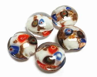6pc 21x19mm flat round lampwork glass beads-10059