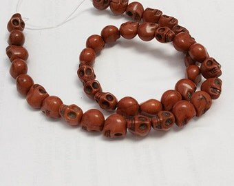 40pc 9x8mm Dyed Brown Synthetic Howlite Beads-7208p