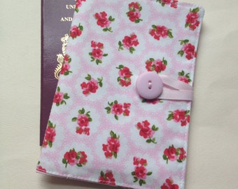 Passport cover case vintage pink rose style cath kidston syle fabric travel wallet