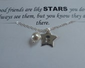 Best Friends Necklace - Customize Sterling Silver Initial Star and Pearl Necklace