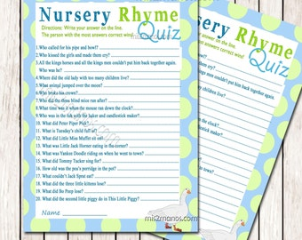 Nursery Rhyme Quiz Game, Baby Shower Printable Baby Blue Game  Instant Download