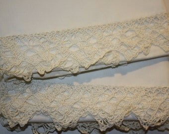 Antique Crocheted Pillowcases - One Pair with Antique Lace