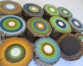 Reclaimed Wood Magnets made from barn ladder rungs. Hand Painted - Set of 6  (6PMAGS)