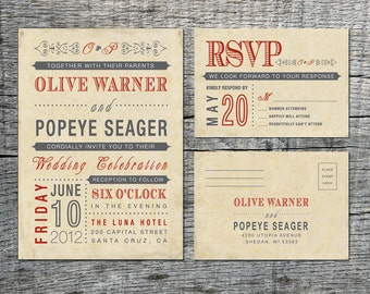 Vintage Wedding Invitation & RSVP Card - Old Fashioned Style - Printable DIY