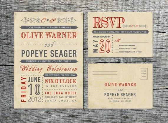 Vintage Wedding Invitation & RSVP Card - Old Fashioned Style - Printable DIY