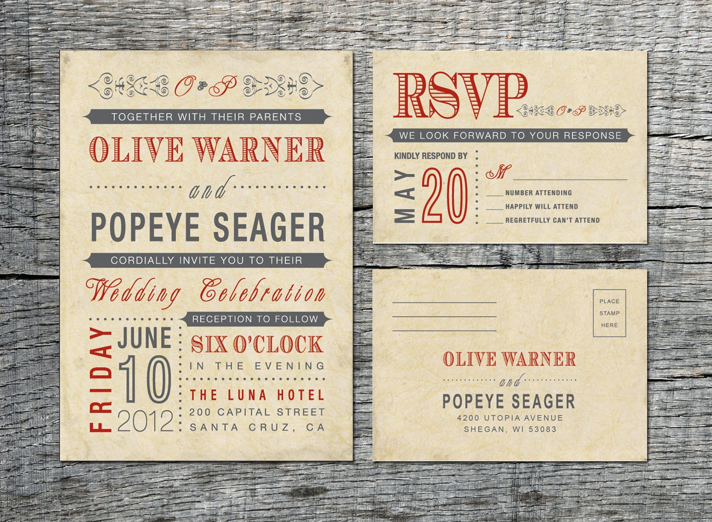 Free Samples Wedding Invitations: Vintage Wedding Invitation & RSVP Card Old Fashioned Style