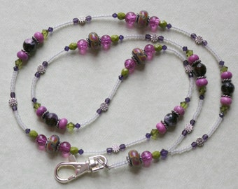 Glass Beaded Lanyard I D Badge Holder - ENCHANTED POND - W119