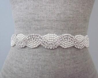 Pearl & Rhinestone Swirl Beaded Wedding Sash / Belt, Crystal Rhinestone Sash