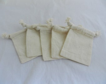 Cotton Drawstring Bag Muslin Bag 3 X 4 Set of 5 FREE SHIPPING