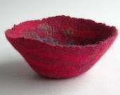 Red felt bowl, small hand felted vessel, art felt, ornamental bowl, Fantasy bowl, made in Scotland