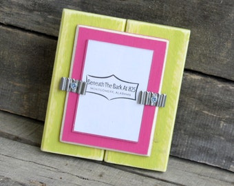"Picture Frame - Distressed Wood - Holds a School Picture 2 1/ 2"" x 3 1/2 "" - Lime Green and Hot Pink"